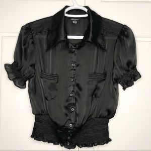 Seduction Medium Black Women Silk Blouse Shirt